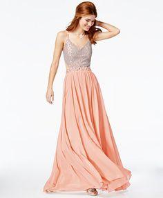 City Studios Juniors' Sequined Lace Open-Back Gown | macys.com