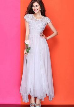 Image of [grzxy6601735]Bridesmaid Wedding Crochet Lace Short Sleeve Bodycon Maxi Dress