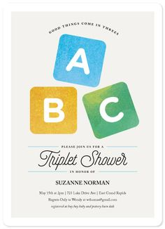 Triplet baby shower invitation just for the wording about triplets this triplet baby shower invitation features whimsical watercolor stacking blocks filmwisefo