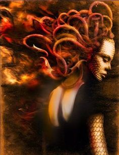 Stheno - 'the Mighty' or 'the Forceful'; gorgon  with red/green snakes curling around her head and red eyes