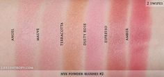 NYX Powder blush swatches in (L-R) Angel, Mauve, Terracotta, Dusty Rose, Espresso and Amber Makeup List, Makeup To Buy, Makeup Swatches, Blush Makeup, Drugstore Makeup, Neutrogena, Blush Tips, Nyx Powder, Nyx Blush