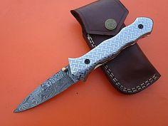 A2 blades Custom Handmade Damascus Steel Folding Knife.