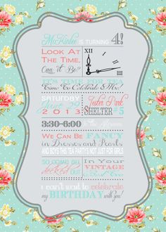 shabby chic vintage girls tea party birthday party bridal or baby shower invitation digital pink blue