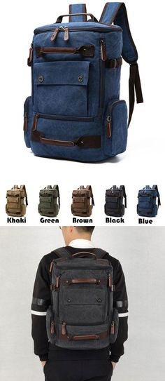 Which color do you like? Retro Washing Color School Backpack Travel Outdoor Backpack Large Capacity Boy's Canvas Zipper Backpack#large #canvas #outdoor #backpack #bag #school #student #college #girl #travel #leisure