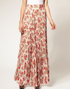 ASOS floral printed pleat maxi skirt $86.20