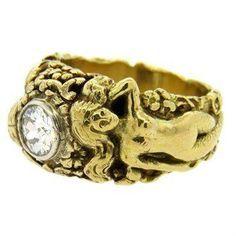 Antique Art Nouveau Diamond 18K Gold Mermaid Ring