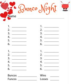 Bunco Free printable Valentines Fondue score sheet