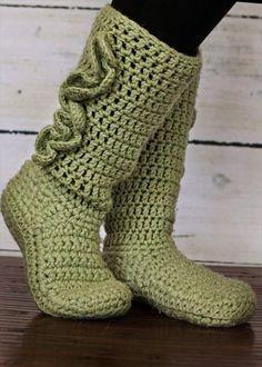 Free+Crochet+Boots+Pattern+Women | 10 DIY Free Patterns for Crochet Slipper Boots: