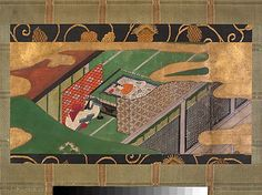 """Scene from """"The Ivy"""" (Yadorigi), chapter 49 of the Tale of Genji"""