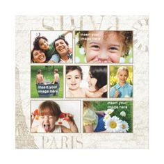Personalized Paris Photo Collage Canvas Print
