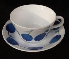 Vintage PRUNUS Stig Lindberg GUSTAVSBERG Benporslin SWEDEN Tea Cup & Saucer