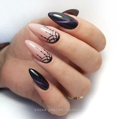 Perfect Almond Nail Art Designs For This Spring . - - Perfect Almond Nail Art Designs For This Spring … almond nails Perfect Almond Nail Art Designs For This Spring … Black And Nude Nails, Black Almond Nails, Almond Nail Art, Black Polish, Pink Black, Trendy Nails, Cute Nails, My Nails, Mandala Nails