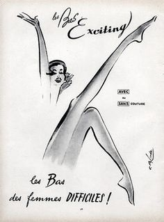 Exciting Stockings advertisement, 1958/ Illustration by Roger Blonde.