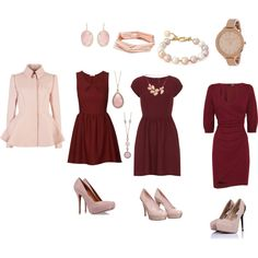 """burgundy&soft pink"" by dorothy93 on Polyvore"