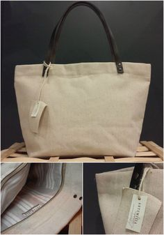 Handmade canvas bag with leather handles. Internal fabric in striped linen.  http://www.artemisiashop.it/shop-online/accessori-moda/borse/