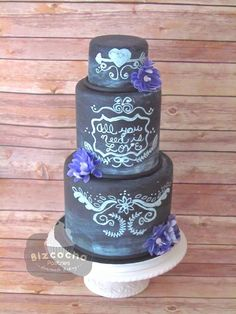 Chalkboard wedding cake and wafer paper flowers - Cake by Bizcocho Pastries Gorgeous Cakes, Pretty Cakes, Cute Cakes, Wedding Cakes With Cupcakes, Cupcake Cakes, Cupcake Ideas, Amazing Wedding Cakes, Amazing Cakes, Chalkboard Cake