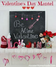 Valentine's Day Mantel Decorations from @Hoosier Homemade