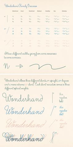'Wonderhand' a new extensive family of Scripts by Martina Flor. Available at myfonts.com