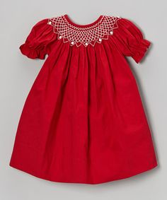 Take a look at this Red & White Bishop Dress - Infant & Toddler by Smock Candy on #zulily today!