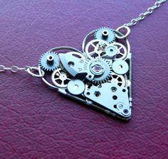 Clockwork Heart Necklace Guarded Elegant by amechanicalmind, $52.00