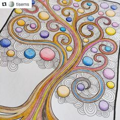 "295 Likes, 4 Comments - Mental Images Coloring Books (@paivivesala_art) on Instagram: ""Wonderful #mentalimages_serenitytree colored by @tisems  You will get this coloring page when…"""