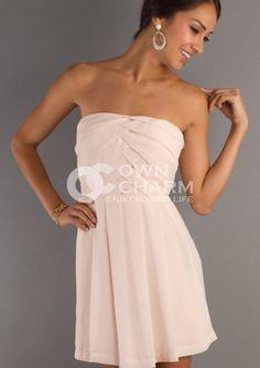 Graduation Dresses-Chiffon Strapless Semi Formal Dress