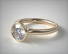 18K Yellow Gold Bezel Set Diamond Engagement Ring