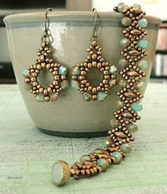 Linda's Crafty Inspirations: Liz Band & Pretty Drops Earrings - Aqua & Bronze