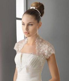 Tulle Open-front Beads Lace Short Sleeve Bridal Wedding Jacket