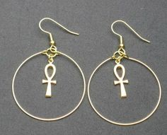 Gold Ankh Hoop Earrings By Fnggrant On Etsy 8 00