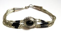 Sterling Silver Onyx Bracelet  Weight 6.9 Grams by WatchandWares