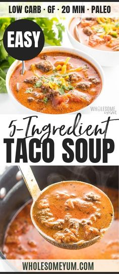 Easy Low Carb Taco Soup Recipe with Ranch Dressing - 5 Ingredients - See how to make taco soup on the stove - it takes only 20 minutes and 5 ingredients! The whole family will love this easy low carb taco soup recipe with ranch dressing. Low Carb Tacos, Low Carb Taco Soup, Low Carb Soup Recipes, Easy Taco Soup, Healthy Tacos, Easy Soup Recipes, Healthy Recipes, Keto Soup, Diet Recipes