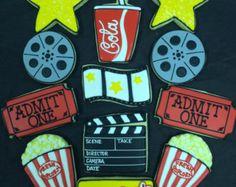 Movie Night Cookie Favors, Movie Theme Cookies, Movie Ticket Cookies, Popcorn Cookies, Theater theme Cookie Favors, Movie Reel Cookies