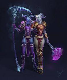 Draenei sisters by Svelien on DeviantArt Draenei Female, Wow Draenei, World Of Warcraft Game, Warcraft Art, New Fantasy, Fantasy Warrior, Epic Characters, Fantasy Characters, Character Modeling
