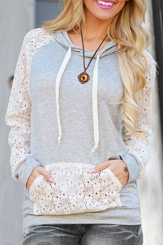 Cutout Front Pocket Pullover Hoodie