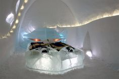 ICEHOTEL in Jukkasjärvi, Sweden offers the largest hotel constructed exclusively out of ice and snow in the world.