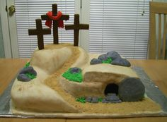 "Easter ""Empty Tomb"" Cake - French vanilla cake with lemon buttercream filling.  Covered in mmf with handmade fondant detailing.  This was really a joy to do, took a lot of thought and time, but was well worth it.  I wanted to honor the Lord Jesus Christ and what He did for me!"