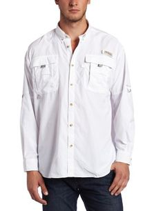 Columbia Men's Bahama II Long Sleeve Shirt, White, Large - Designed specifically for the needs of anglers, this lightweight, durable nylon shirt dries fast, with mesh-lined cape vents at the back shoulder to keep you cool and built-in UV protection.