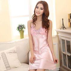 ec81c540bed Sexy Lace Woman Silk Pajamas Gallus Dress – FoWish.com Sexy Pajamas