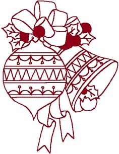 Redwork Ornaments & Berries Embroidery Design