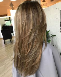 80 Cute Layered Hairstyles and Cuts for Long Hair Long Haircut With V-Cut Layers Long Hair V Cut, Long Length Hair, Layered V Cut Hair, Long Hair Short Layers, Medium Hair Cuts, Medium Hair Styles, Short Hair Styles, V Cut Layers, Long Layered Haircuts