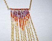 Beaded Chevron Fringe Necklace