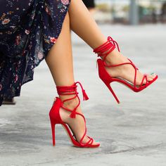 The laced-up heel is the must-have style of the summer! #ShoeDazzle #Heel #Summer