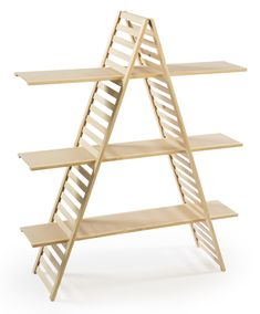 Wooden Retail Shelving Unit w/ 3 Shelves, A-Frame Design - Pine Wood