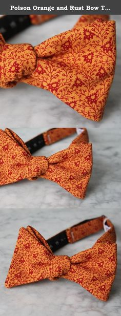 Poison Orange and Rust Bow Tie - for children or adults - clip on, pre-tied with strap or self tying. This darling tie is perfect for a wedding or a fun addition to any outfit. Made of top quality designer linen. It will also hold up to lots of wear. Stylish bow tie for a true gentleman. Available in different styles to fit any budget. Boys clip on bow ties are darling and easy to wear. A metal clip attaches to the collar and stays firmly in place all day. The men's clip on bow tie is a...