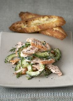 Salmon with cucumber salad - this fresh salad of crunchy cucumber, light salmon and dill combines classic flavours, is under 300 calories and ready in just 20 minutes – perfect for midweek. Best Salad Recipes, Bbc Good Food Recipes, Vegetarian Recipes, Healthy Recipes, Healthy Foods, Snack Recipes, Canned Salmon Recipes, Fish Recipes, Recipies