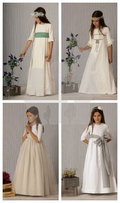 A Gatas colección 2014 Première Communion, Holy Communion Dresses, Little Girl Outfits, Kids Outfits, Pretty Dresses For Kids, Frock Patterns, Girls Dresses, Flower Girl Dresses, Look Girl