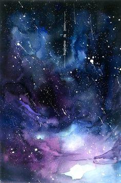 水彩 手绘 唯美星空