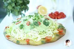 Raw vegan avocado basil sauce with zucchini noodles recipe basil raw zucchini pasta with creamy cashew cilantro sauce forumfinder Image collections
