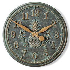 Classic Pineapple Clock - Verdigris - Frontgate